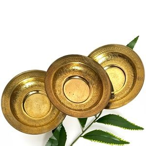 Vintage Mini Brass Round Plates - Home Decor
